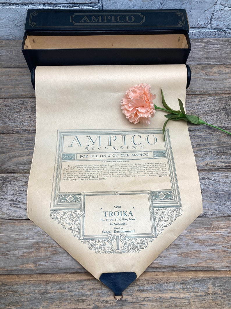 1 ANTIQUE AMPICO Player Piano Roll Mixed Media Craft Supplies image 0