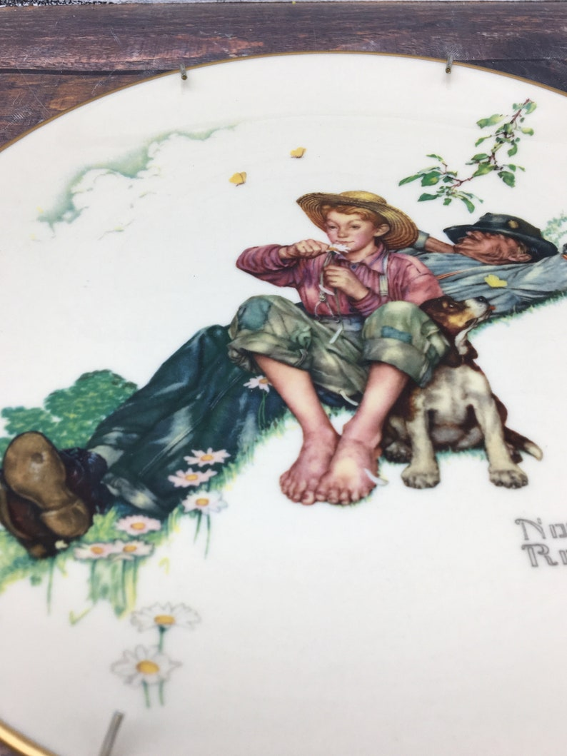 Norman Rockwell Collector Plate 1974 Gorham China Four Seasons  Vintage Home Wall Decor Wall Collectible Hanging Plate American Artist