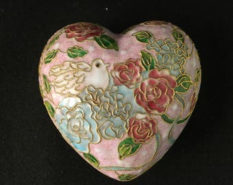 Vintage Heart Shaped Cloissone Trinket Box GORGEOUS Collectible Trinket Box Filigree Jewelry Box Keepsake Box Bedroom Cottage Home Decor