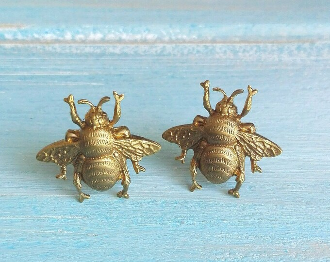 Gold Brass Bees set on Stainless Steel Hypo Allergenic Earring Posts/Bee Stud Earrings/Bee Earrings/Bumble Bee Earrings/Stud Earrings
