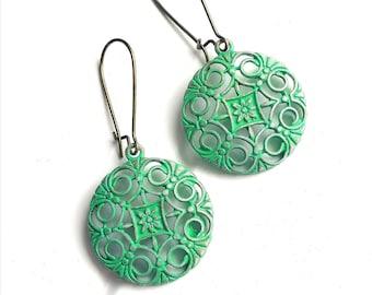 Emerald Green Patina Filigree Flower Charm on Antique Bronze Kidney Wire Earring Hooks/Dangle Earrings/Boho Earrings/Filigree Earrings