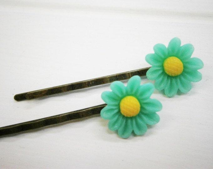 Aqua Daisy Hair Clips/Aqua Flower Hair Clips /Hair Accessories/Antique Bronze 50mm Hair Clips with 16mm Resin Aqua Flowers.