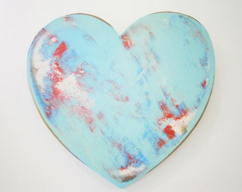 Adore - Shabby Chic Heart - Wall Art/Light Blue & White with touches of Red Painted Heart with a distressed Shabby Chic/Rustic finish.