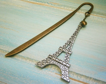 Bookmark with a Antique Silver Large Eiffel Tower and Antique Bronze Heart/Book Lover Bookmark/Bookmarks for Books/Paris Bookmark