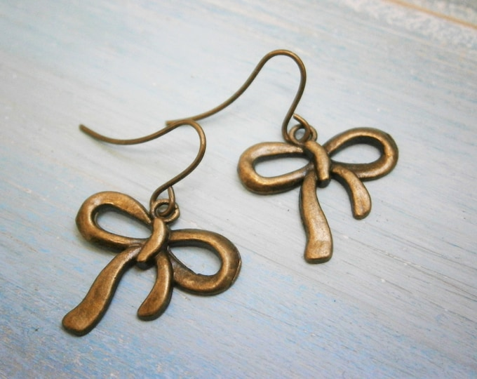 Antique Bronze Bow Charm On Antique Bronze Small French Earring Hooks/Dangle Earrings/Ribbon Earrings/Bow Earrings/Romantic Earrings
