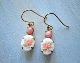 Vintage Limoges Pink Rose Earrings/Flower Cameo Earrings/Pink Rose Limoge Cameo in Brass Setting On Gilt Plated French Earring Hooks