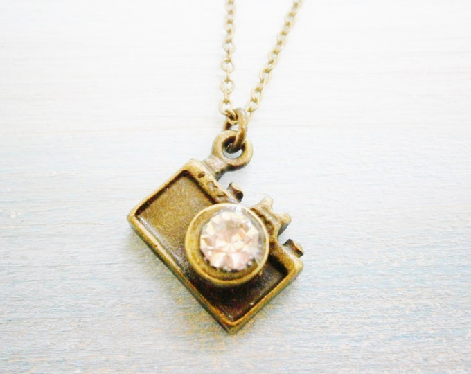 Antique Bronze Camera Charm Necklace/Boho Necklace/Boho Necklace.
