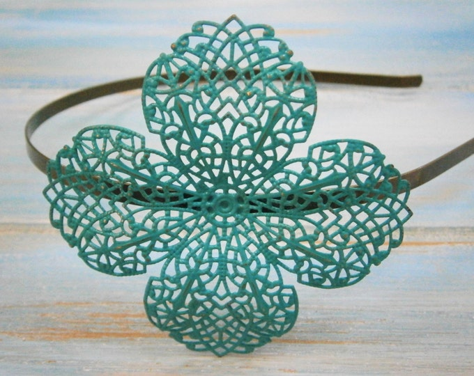 Turquoise/Verdigris Patina Filigree Headband - Hair Accessory, Bridesmaid Gift, Family Pictures, Rustic Wedding Accessory, Wedding Accessory