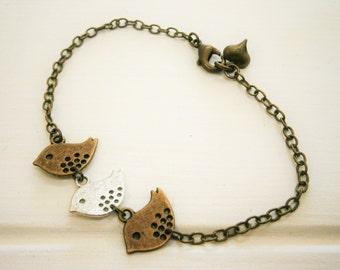 Antique Bronze & Silver Plated Three Sparrow Bird Charm Bracelet/Boho Bracelet/Nature Inspired Bracelet/Woodland Jewelry/Wedding Jewelry