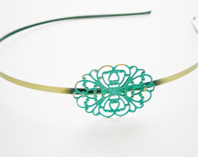 Verdigris/Turquoise Patina Filigree Headband/Hair Accessory/Bridesmaid Gift/Bridal Accessory/Rustic Wedding/Boho Hair Accessory/Headband