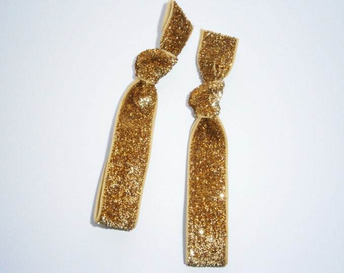 Set of 2 Glitter Hair Tie Package by Crimson Rose Cottage - Gold Glitter Hair Ties that Double as Bracelets