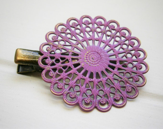 Purple Hand Painted Patina Antique Bronze Round Filigree Shabby Chic Alligator Hair Clip/Boho Hair Clip/Rustic Hair Clip.