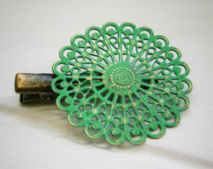 Emerald Hand Painted Patina Antique Bronze Round Filigree Shabby Chic Alligator Hair Clip/Boho Hair Clip/Rustic Hair Clip.