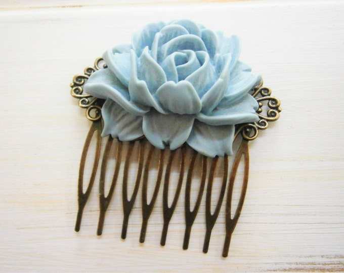Large Blue-Grey Rose Hair Comb/Something Blue Hair Comb/Bridal Hair Comb/Bridesmaid Hair Comb/Vintage Inspired/Shabby Chic/Bohemian.