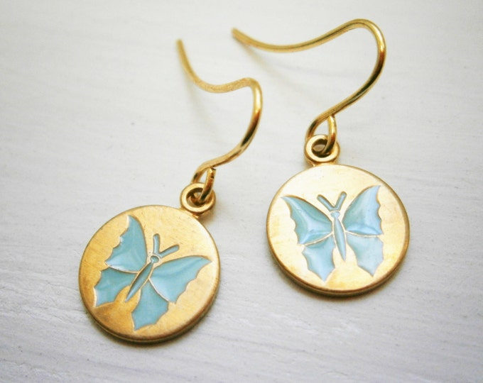 Pale Blue Butterfly Vintage Style Brass Disc Charm Pendant On Gilt Plated French Earring Hooks/Butterfly Earrings/Bridal Jewelry/Earrings