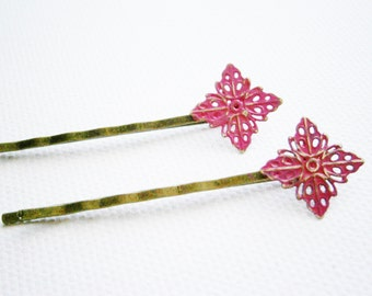 Hot Pink Filigree Patina Antique Bronze Bobby Pins Set of Two/Hair Clips/Bohemian Hair Clips/Shabby Chic Hair Clips/Bobby Pins/Vintage Style