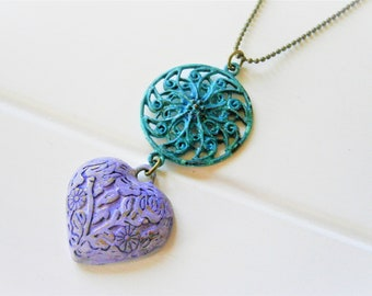 Verdigris/Turquoise Patina Round Filigree & Amethyst Embossed Patina Heart on Antique Bronze Ball Chain/Long Necklace/Patina Necklace