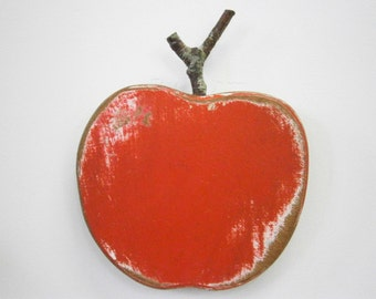 Red Painted Wood Apple - Wall Art/Reclaimed Apple with a Shabby Chic/Rustic distressed finish/Home Decor/Rustic Decor/Shabby Chic.