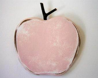 Shabby Pink Painted Wood Apple - Wall Art/Reclaimed Apple with a Shabby Chic/Rustic distressed finish/Home Decor/Rustic Decor/Shabby Chic.
