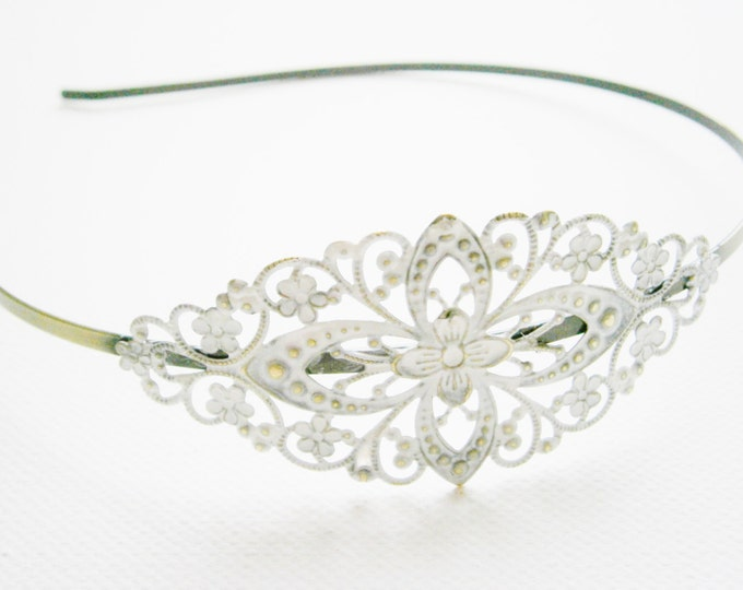 Antique White Patina Filigree Headband - Hair Accessory/Bridesmaid Gift/Family Pictures/Stocking Stuffer/Shabby Chic/Bohemian/Steampunk