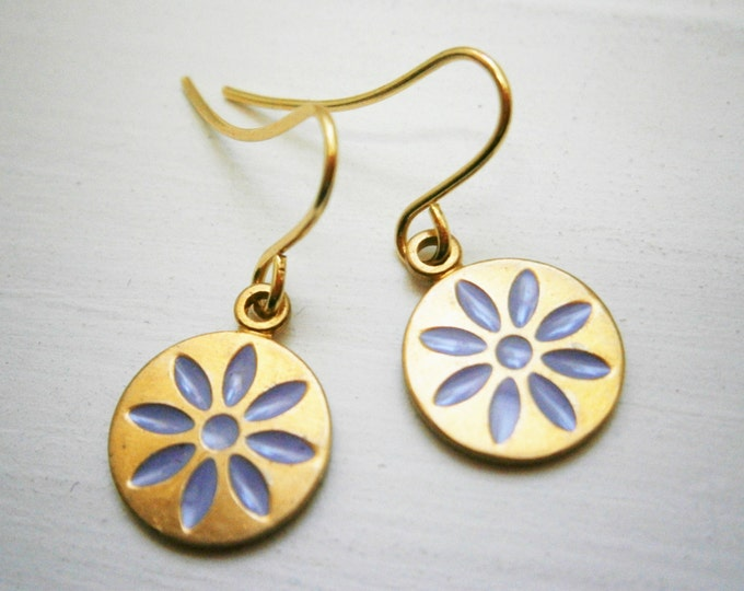 Purple Daisy Vintage Style Brass Disc Charm Pendant On Gilt Plated French Earring Hooks/Dangle Earrings/Daisy Earrings/Bridal/Boho Style