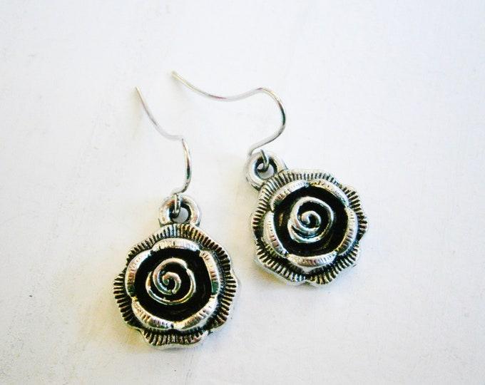Antique Silver Rose Charm Pendant On Small Silver Plated Earring Hooks/Dangle Earrings/Rose Earrings.