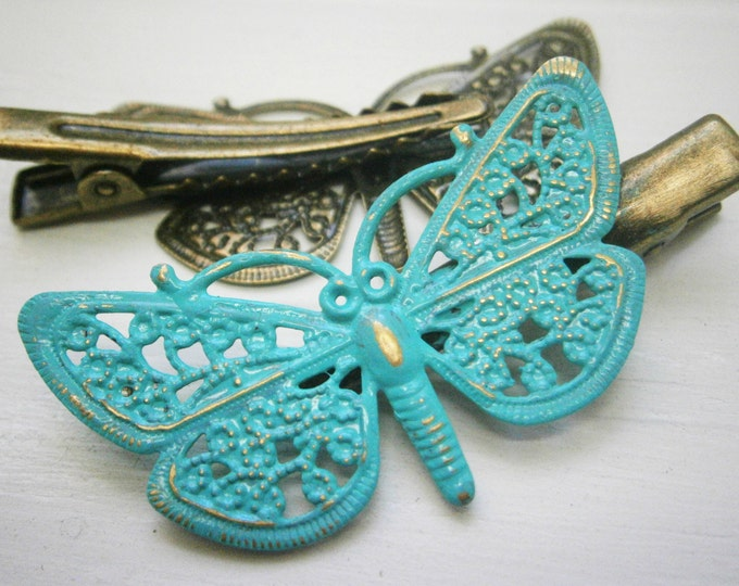 Verdigris/Turqouise Hand Painted Patina Antique Bronze Butterfly Filigree Shabby Chic Alligator Hair Clip/Boho Hair Clip/Rustic Hair Clip.