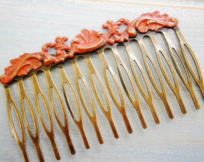 Large Red Patina Filigree Hair Comb - Vintage Inspired/Shabby Chic/Bohemian/Hair Accessory/Bridesmaids Gifts/Bridal Hair Accessory