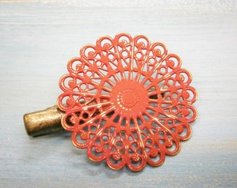 Red Hand Painted Patina Antique Bronze Round Filigree Shabby Chic Alligator Hair Clip/Boho Hair Clip/Rustic Hair Clip.