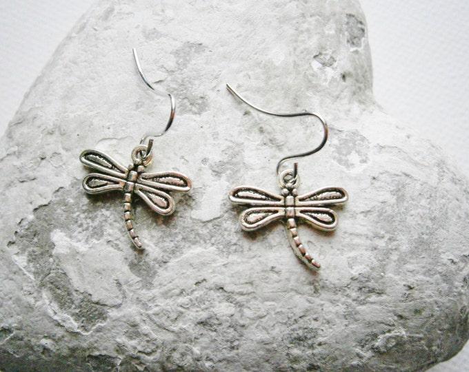 Antique Silver Dragonfly Charm Pendant On Small Silver Earring Hooks/Dangle Earrings/Dragonfly Earrings/Nature Earrings.