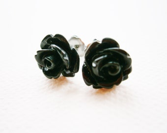 Black 10mm Resin Rose Flowers set on Stainless Steel Hypo Allergenic Earring Posts/Stud Earrings/Rose Earrings/Black Earrings