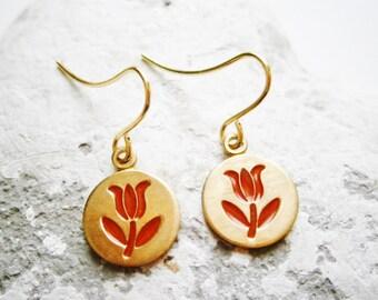 Vintage Style Red Tulip Brass Disc Charm Pendant On Gilt Plated French Earring Hooks/Red Flower Earrings/Dangle Earrings.