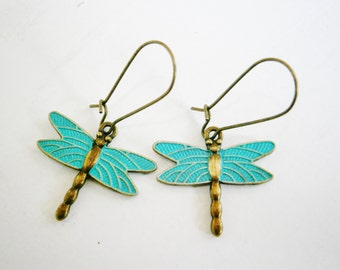 Antique Bronze Dragonfly with Verdigris/Aqua Patina Wings On Antique Bronze Kidney Wire Hooks/Dangle Earrings/Boho Jewelry/Woodland Jewelry