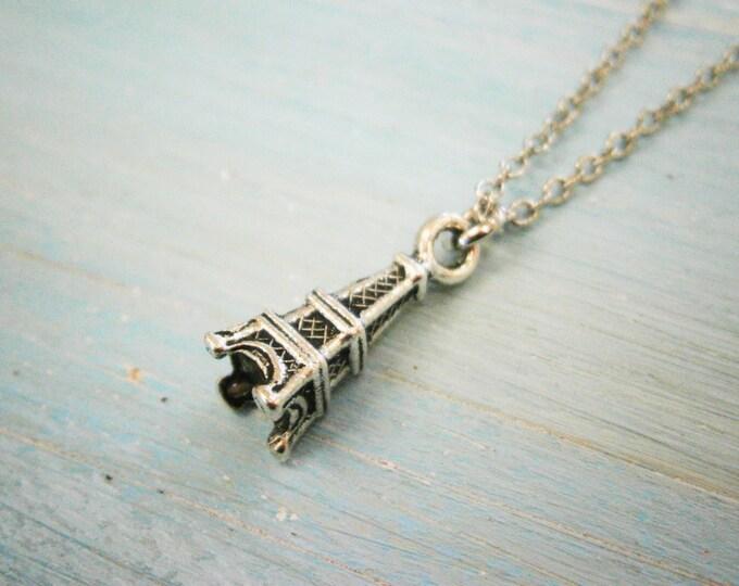 Antique Silver Mini Eiffel Tower Charm Necklace/Boho Necklace/Paris Necklace/Paris Jewellery/Dainty Necklace/Eiffel Tower Necklace