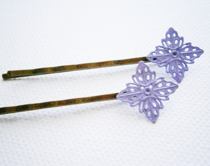 Amethyst Filigree Patina Antique Bronze Bobby Pins Set of Two/Hair Clips/Bohemian Hair Clips/Shabby Chic Hair Clips/Bobby Pins/Vintage Style