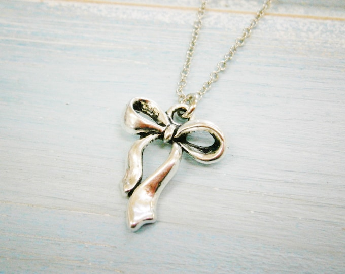 Antique Silver Ribbon Bow Charm Necklace/Boho Necklace/Bridesmaids Gifts/Charm Necklace
