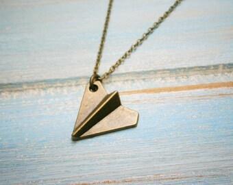 Antique Bronze Paper Plane Charm Necklace/Boho Necklace/Plane Necklace/Boho Jewelry/Birthday Gift/Plane Jewellery