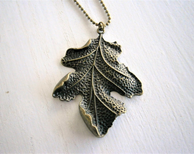 Antique Bronze Large Leaf Charm Pendant Necklace/Boho Necklace/Leaf Necklace/Nature Necklace/Long Necklace/Nature Inspired/Boho Jewelry