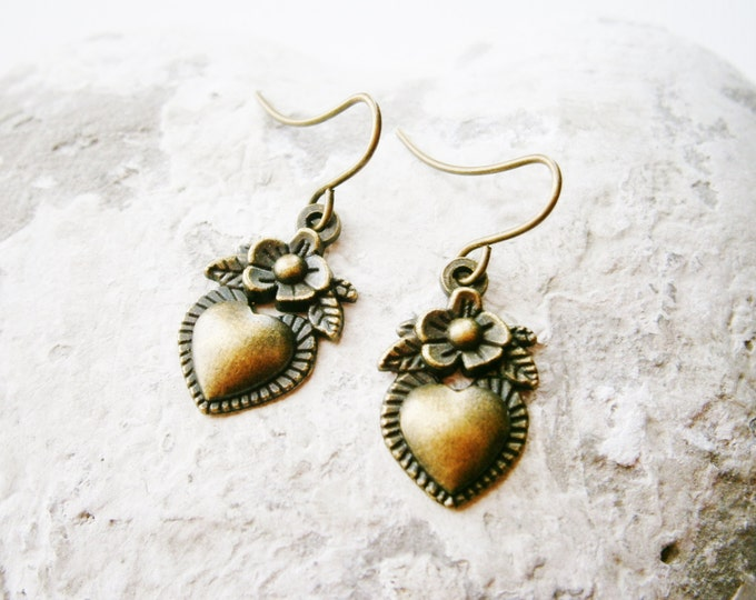 Small Antique Bronze Victorian Style Flower Heart Charm On Antique Bronze French Earring Hooks/Dangle Earrings.