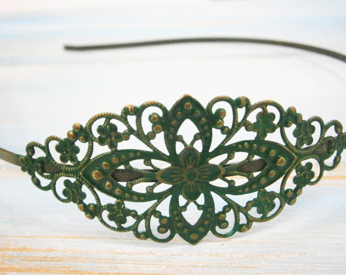 Forrest Green Patina Filigree Headband - Hair Accessory, Bridesmaid Gift, Family Pictures, Stocking Stuffer, Boho Headband, Rustic Wedding