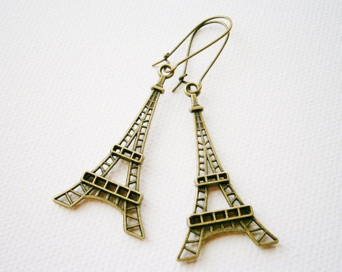 Antique Bronze Eiffel Tower Pendant Long Dangle Earrings/Boho Earrings/Steampunk Earrings/Paris Earrings