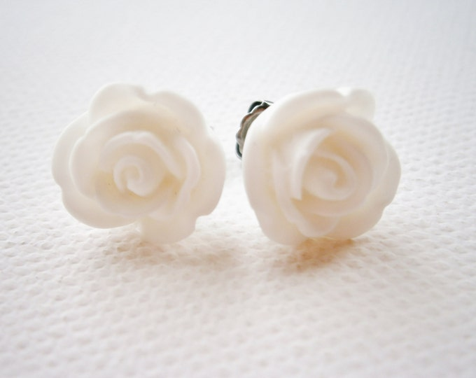 White 13mm Resin Rose Flowers set on Stainless Steel Hypo Allergenic Earring Posts/Stud Earrings.