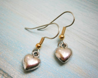 Antique Silver Solid 3D Heart Charm On Stainless Steel French Earring Hooks/Heart Earrings/Romance Earrings/Steampunk Jewerly/Boho Earrings