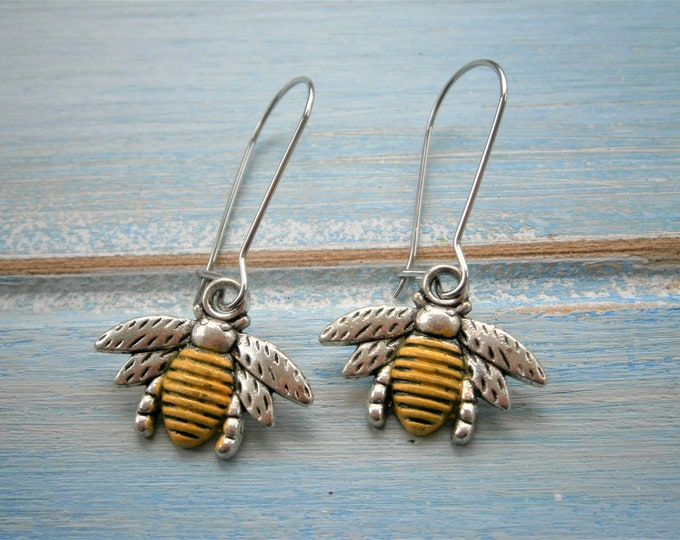 Antique Silver Bumble Bee with Yellow Patina Tummy on Stainless Steel Kidney Wire Earring Hooks/Dangle Earring/Boho Jewelry/Woodland Jewelry