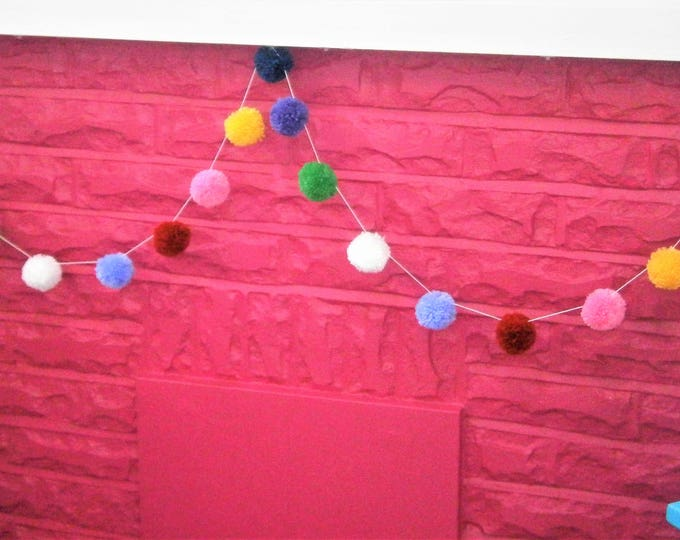 Multi Coloured Yarn Pom Pom Garland/Party Decor/Home Decor/Garland/Bohemian Home Decor/Farmhouse Decor