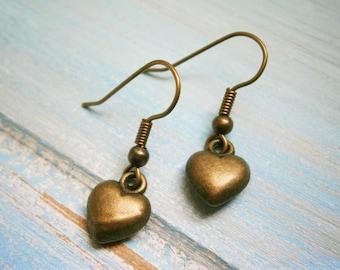Antique Bronze Solid 3D Heart Charm On Antique Bronze French Earring Hooks/Heart Earrings/Romance Earrings/Steampunk Jewerly/Boho Earrings
