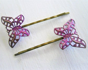 Purple Patina Filigree Butterfly Antique Bronze Bobby Pins Set of 2/Bohemian Hair Clips/Shabby Chic Hair Clips/Rustic Wedding