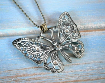 White Patina Filigree Butterfly on Antique Bronze Ball Chain/Boho Necklace/Long Necklace/Layering Necklace/Patina Necklace.