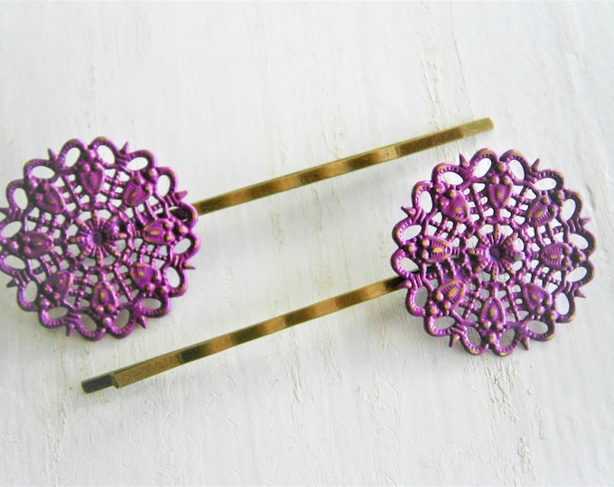 Purple Filigree Patina Antique Bronze Bobby Pins Set of Two/Hair Clips/Bohemian Hair Clips/Shabby Chic Hair Clips/Bobby Pins/Rustic Wedding