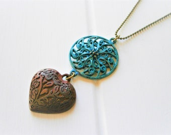 Blue Patina Round Filigree and Red Embossed Patina Heart on Antique Bronze Ball Chain/Boho Necklace/Long Necklace/Patina Necklace/Necklace